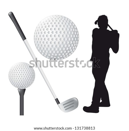 golf elements over white background. vector illustration - stock vector