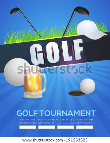 Golf Event Poster Template Vector Background - stock vector