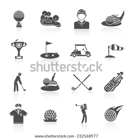 Golf game sport and activity black icons set isolated vector illustration - stock vector