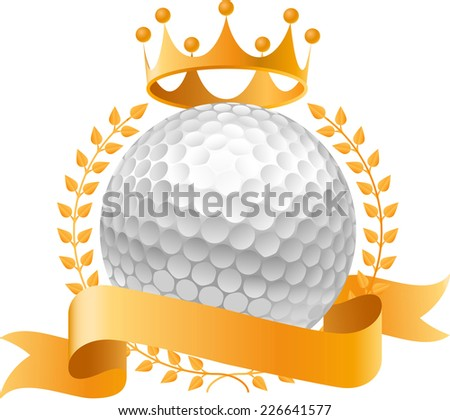 Golf gold crown design banner icon - stock vector