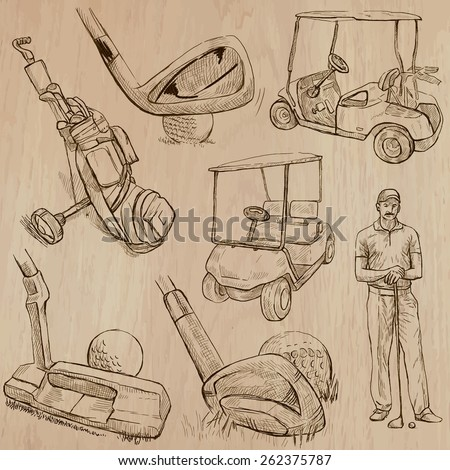 GOLF, Golfers, Golf , and Golf Equipment. Collection of an hand drawn illustrations (line art vectors - pack no.1). Each drawing comprises of three or four layers of lines, background is isolated. - stock vector