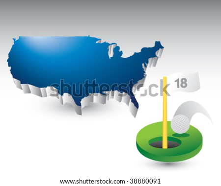 golf hole in one featured with the united states - stock vector
