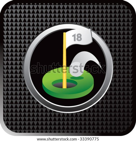 golf hole in one on black halftone web button - stock vector