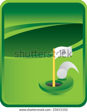 golf hole in one on green background - stock vector