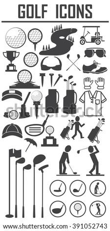golf icons design over white background vector illustration - stock vector