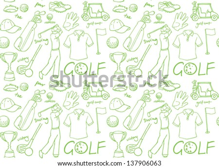 Golf images seamless background vector - stock vector