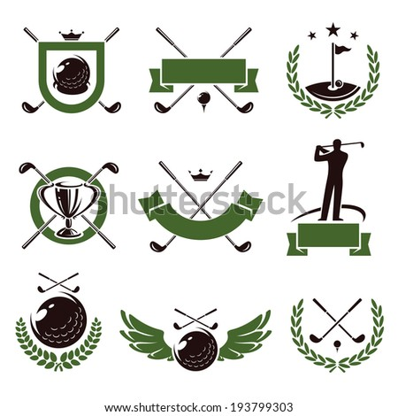 Golf labels and icons set. Vector - stock vector