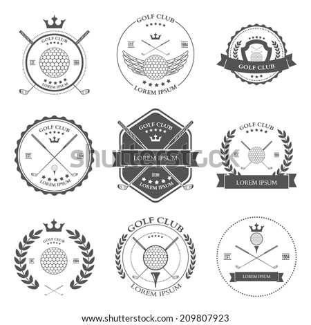 Golf labels icons and emblems set. Vector illustration - stock vector