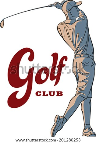 Golf player in action. Editable vector illustration. - stock vector