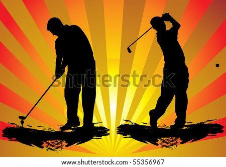 Golf players - stock vector