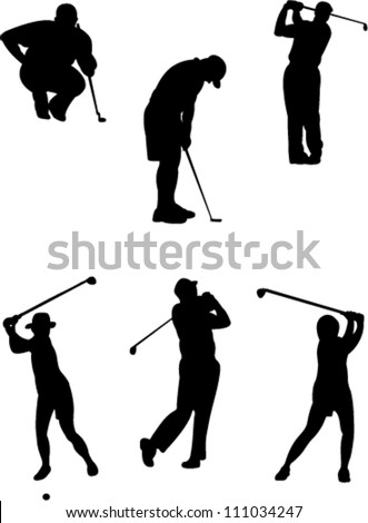 golf players collection vector - stock vector