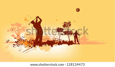 Golf Silhouettes in yellow background - stock vector