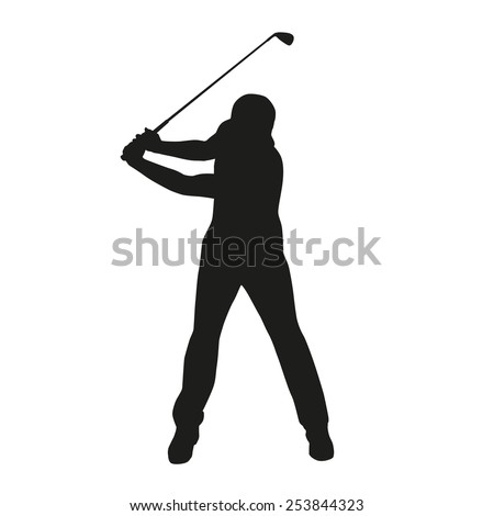 Golf swing. Isolated vector silhouette - stock vector