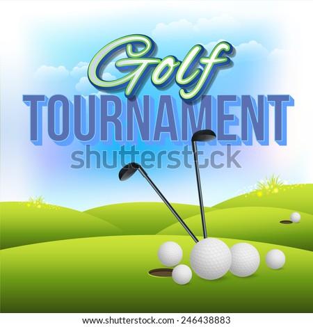 Golf Tournament Concept Flyer, Poster, Ad Design Vector Template - stock vector