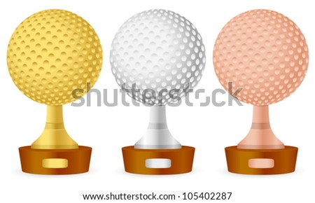 Golf trophy set on white background. Vector illustration. - stock vector