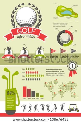 Golf vector infographics - stock vector