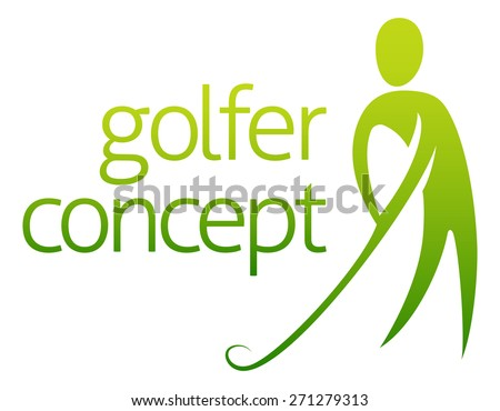 Golfer concept abstract of a golfer about to hit a golf ball - stock vector