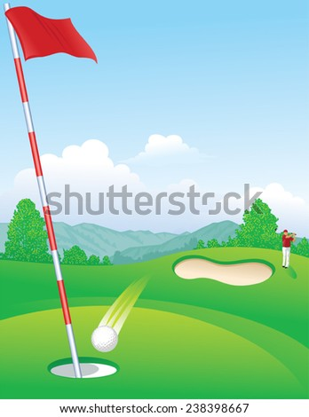Golfer Hitting Hole In One - stock vector