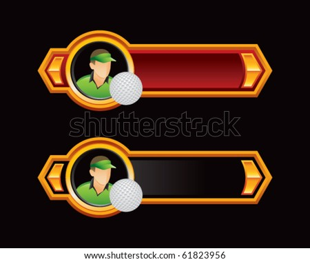 golfer red and black arrows - stock vector
