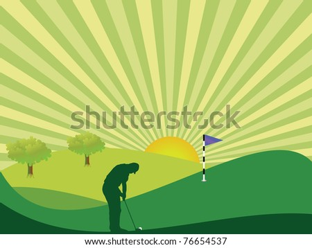 Golfer silhouette in green rolling countryside with bright sun and sunburst sky - stock vector