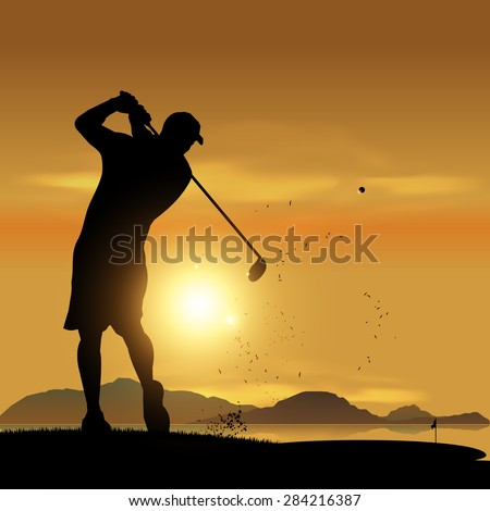 Golfer silhouette swinging at sunset design background - stock vector