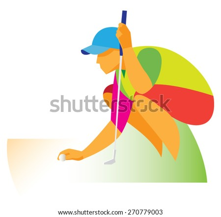 golfer sitting - stock vector