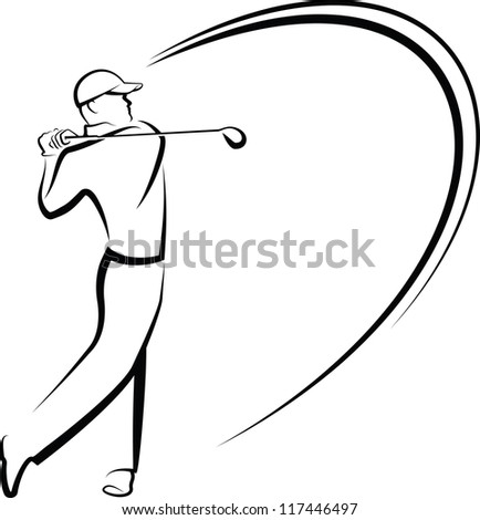 Golfer Teeing Off Stylized - stock vector