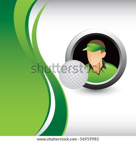 golfer vertical green wave - stock vector