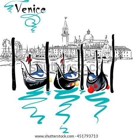 Gondolas moored by Saint Mark square with San Giorgio di Maggiore church in the background in Venice lagoon, Italia. - stock vector