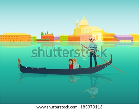 Gondolier in a gondola boat with a couple in love in a beautiful and romantic city Venice, Italy. Vector design illustration Venezia colorful landscape, italian street seafront silhouette, canal. - stock vector