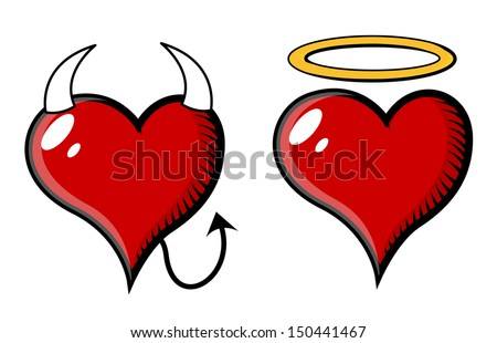 Good and Bad Heart - Vector Illustration - stock vector