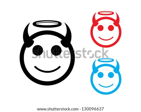 Good and Evil Icons in Black, Red and Blue. - stock vector