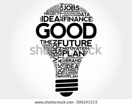 GOOD bulb word cloud, business concept - stock vector