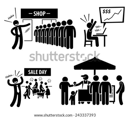 Good Business Day Stick Figure Pictogram Icons - stock vector