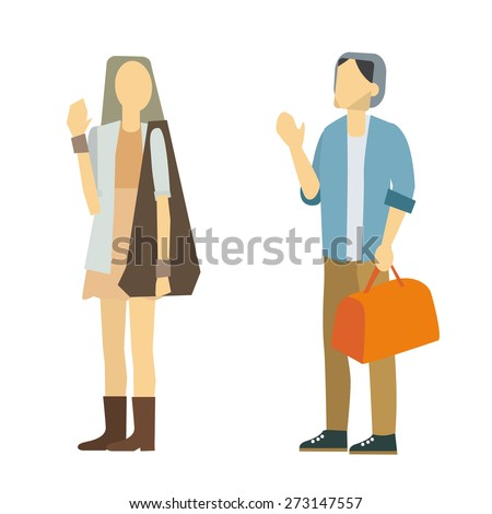good bye people vector isolate on white background. - stock vector