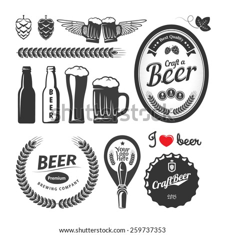 Good craft beer brewery labels, emblems and design elements. Vintage vector set - stock vector