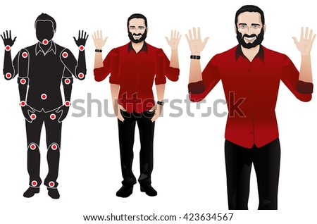 GOOD FOR ANIMATION. man character in formal red shirt and tie, doll with separate joints. Gestures for animated work movement. Parts of body template for design work and animation. Body elements. Set - stock vector
