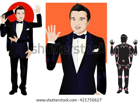 GOOD FOR ANIMATION. man character in suit and butterfly tie, doll with separate joints. Gestures for animated work movement. Parts of body template for design work and animation. Body elements. Set - stock vector