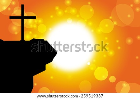 good friday background with jesus cross at sunset vector illustration - stock vector