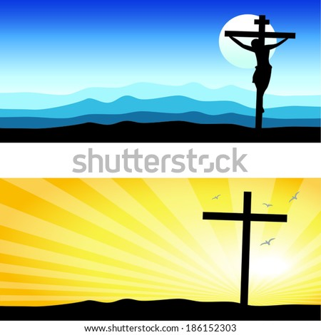 Good Friday & Easter day background. Vector illustration of Jesus Christ's crucifixion silhouette and Resurrection.  - stock vector