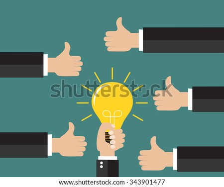 Good idea concept. Hand holding a lightbulb while other hands showing thumbs up hand sign. Flat style. Business strategy planning objects icon set collage. Vector illustration - stock vector