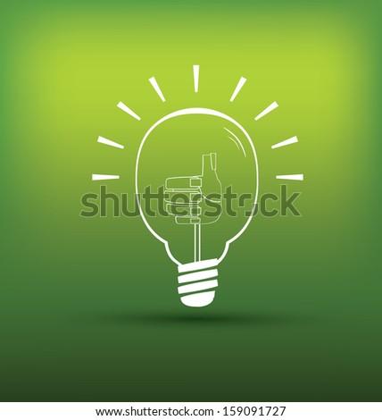Good Idea or green Idea bulb with hand thump up - stock vector