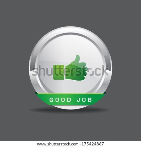 Good Job Thumbs Up Vector Icon Button - stock vector