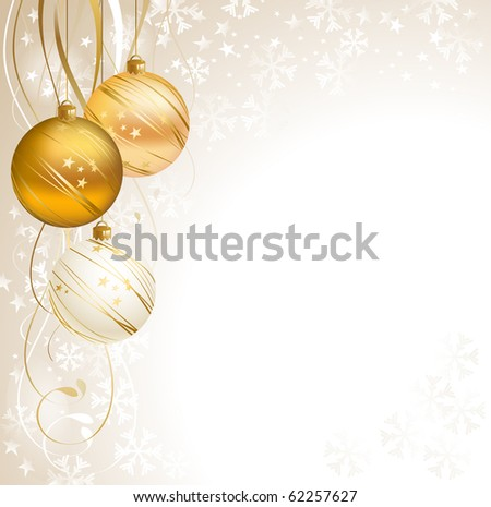 good-looking Christmas backdrop with three balls - stock vector