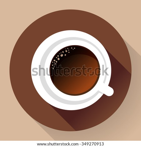 Good morning drink - hot cup of coffee. Flat Icon. Long shadow style. - stock vector