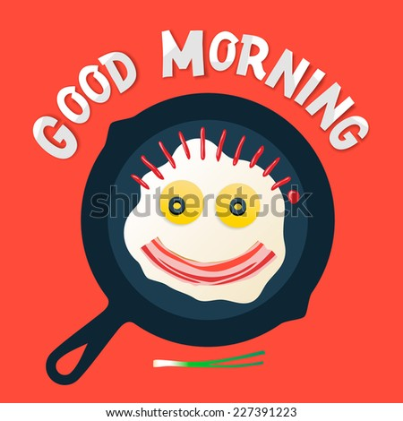 Good morning - funny breakfast with love, smiling face make with fried eggs and bacon, vector illustration.  - stock vector