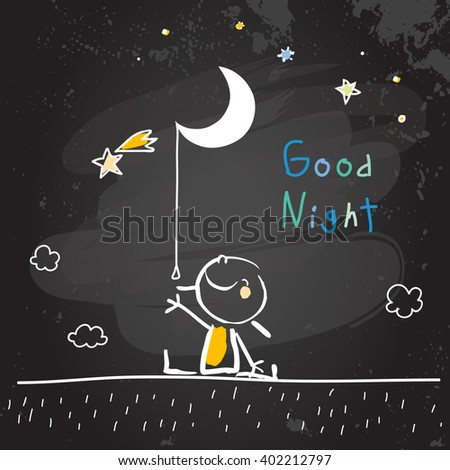 Good night vector illustration, kid with moon, stars. Chalk on blackboard doodle, hand drawn scribble.  - stock vector