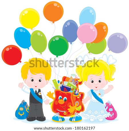 Goodbye kindergarten. Little girl and boy with a funny schoolbag and holiday balloons - stock vector
