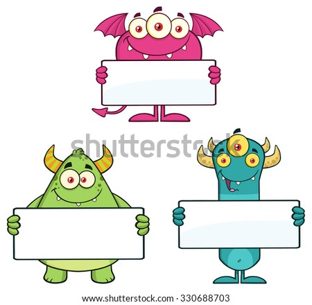 Goofy Monsters Cartoon Character Holding A Blank Sign. Vector Collection Set - stock vector