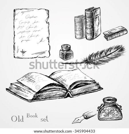 Goose feather , elegant old-fashioned decorative inkpot ,old paper with inscription.Old book. Vintage background. Hand drawn vector - stock vector
